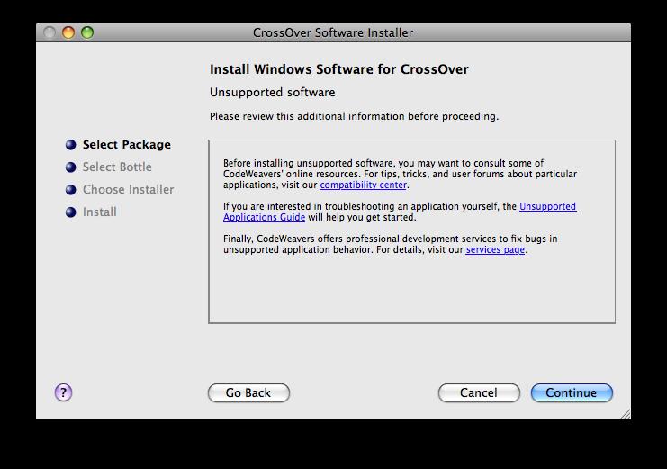 Installing on CrossOver Mac
